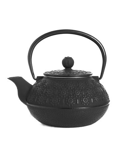 Taşev Linden - Papatya 800 ml Siyah Döküm Çaydanlık-Bambum